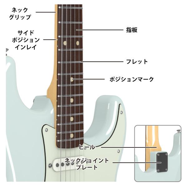 エレキギター(ストラトキャスター)ネック各部名称