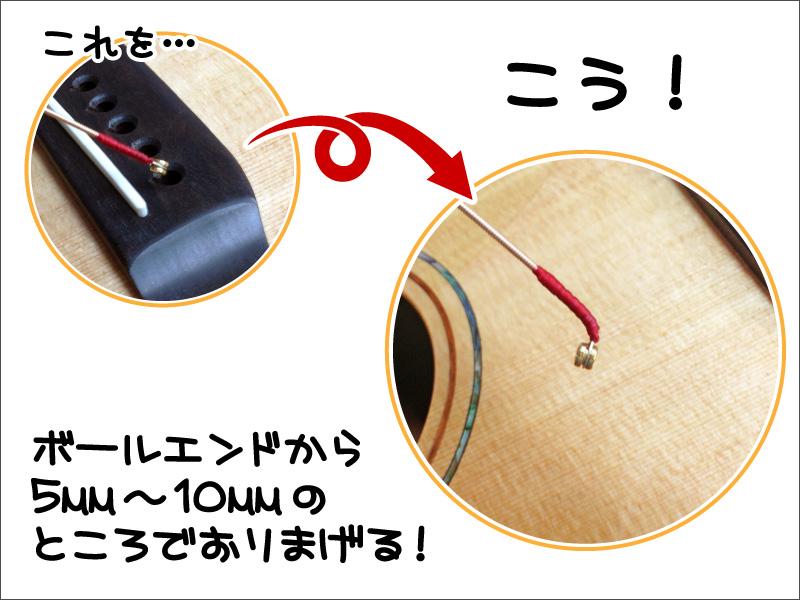 アコギの弦交換,ボールエンドの部分を折る