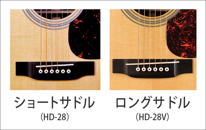 Martin_ショートサドルとロングサドル(HD-28とHD-28V)