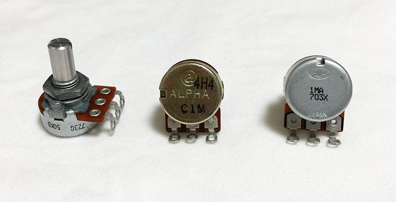 エレキギター・ベースのツマミに使われるポットのカーブの見方